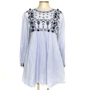 ZARA blue & white striped embroidered dress